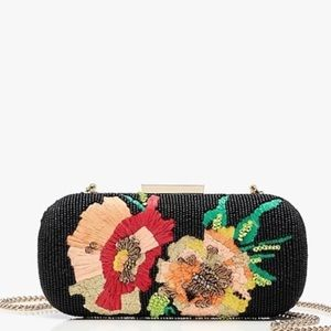J crew sunflower embroidered clutch bag